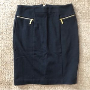Michael Kors Black Pencil Skirt w/ gold zippers